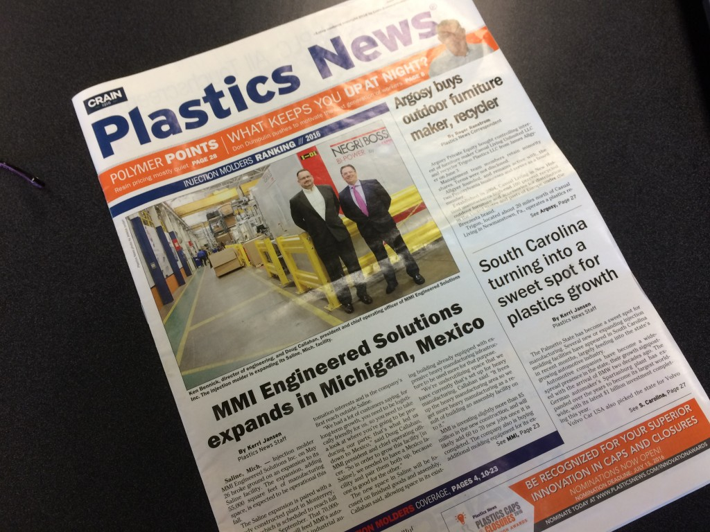 Mmi Es Featured In Plastics News Cover Story